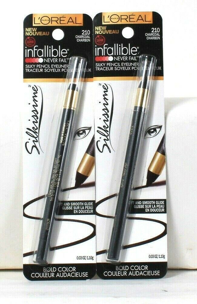 2 Count L'Oreal 0.03 Oz Infallible Silkissime 210 Charcoal Silky Pencil Eyeliner