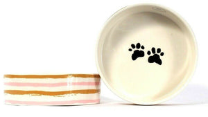 "2 Count Park Life Designs 6.5"" Pet Bowl With Paw Prints"