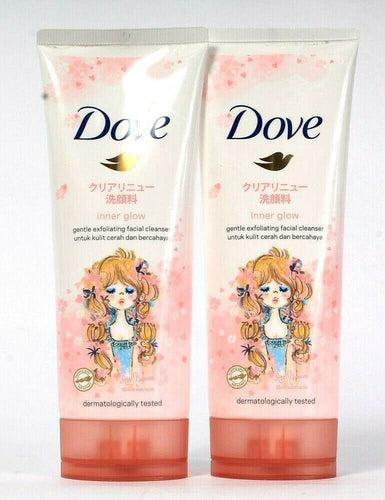 2 Count Dove 3.5 Oz Inner Glow Nutrium Moist Gentle Exfoliating Facial Cleanser