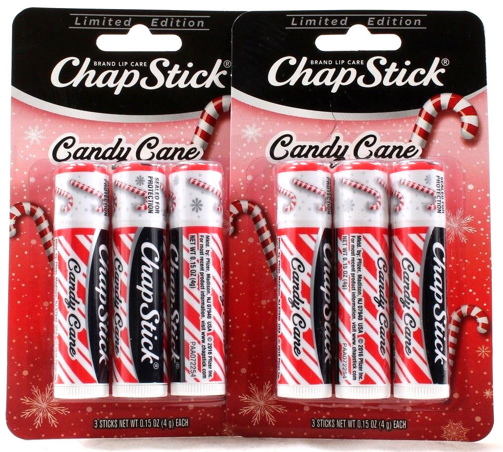 2 Packs 6 Total Limited Edition Candy Cane Chap Stick Brand Lip Care .15 oz Each