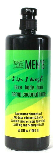 1 Dead Sea Collection 33.8 Oz Men's Hemp Coconut Lime 3in1 Face Body Hair Wash