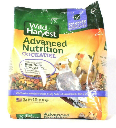 1 Wild Harvest 4 Lb Advanced Nutrition Cockatiel Balanced Nutrients Bird Food