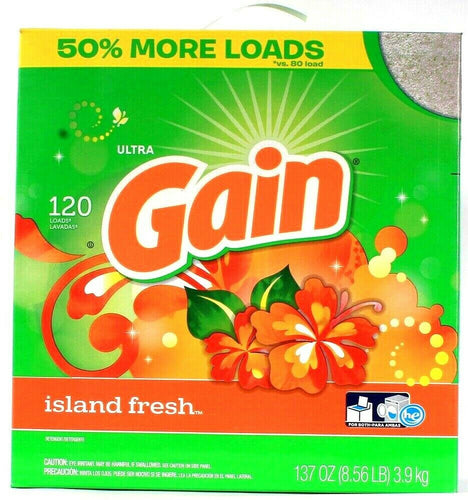 1 Gain Ultra 120 Loads Laundry Detergent Island Fresh Scent 50% More Loads 137oz
