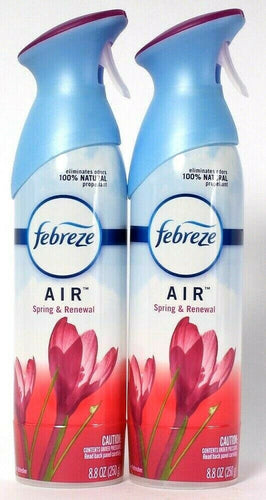 2 Count Febreze 8.8 Oz Air Spring & Renewal Eliminate Odor Air Refresher Spray