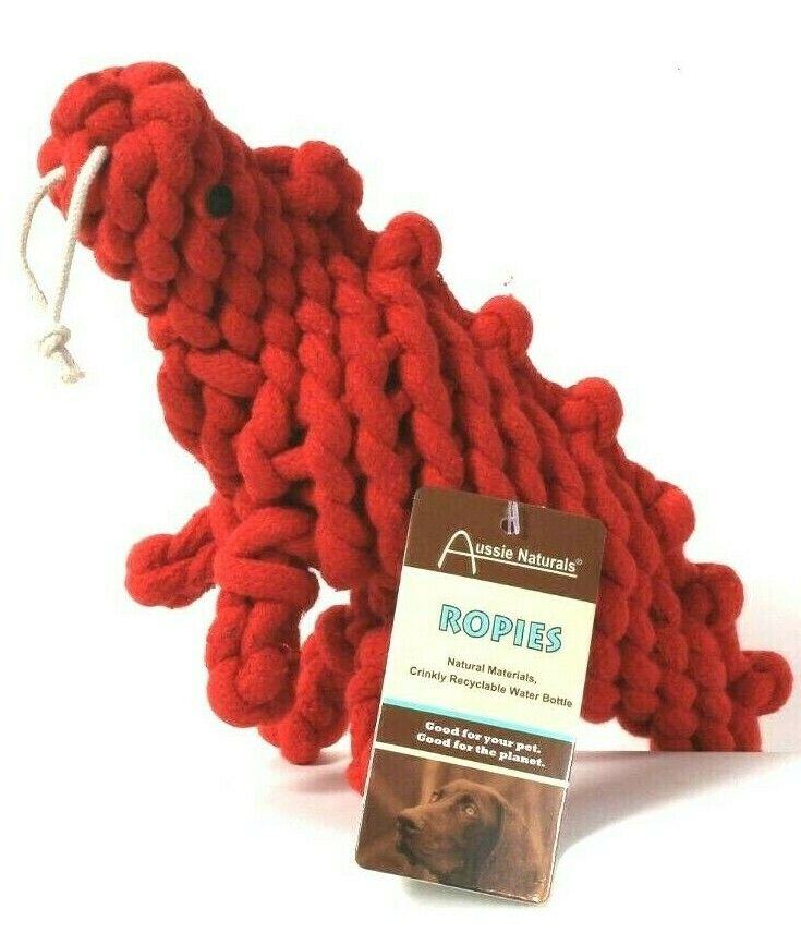 1 Count Aussie Naturals Ropies Red Dinosaur Wooley Cotton Rope Natural Material