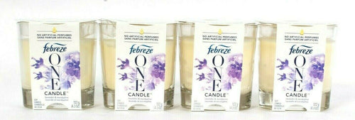 4 Count Febreze One 4.3 Oz Lavender Eucalyptus No Artificial Perfumes Soy Candle