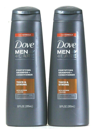 2 Dove 12 Oz Men Care 2 In 1 Formula Thick Strong Fortify Shampoo & Conditioner
