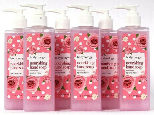 6 Bottles Bodycology Nourishing Hand Soap Pump Spring Rose Scented 10 Fl oz