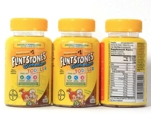 3 Bayer Flintstones Gummies Toddler For 2 To 3 Year Olds Multivitamin Supplement