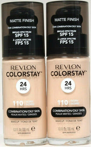2 Ct Revlon 1 Oz Colorstay 110 Ivory SPF 15 Combination Oily Skin 24hr Makeup