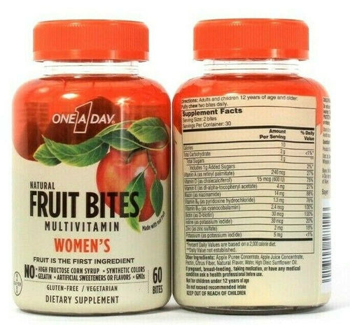 2 One A Day Natural Fruit Bites Women's Multivitamin 60 Count Dietary Supplement