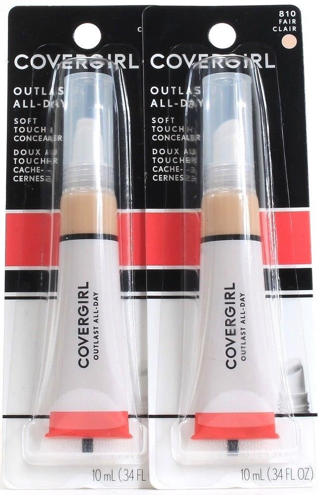 2 Covergirl 810 Fair Outlast All Day Soft Touch .34 Oz Concealers Matte Finish