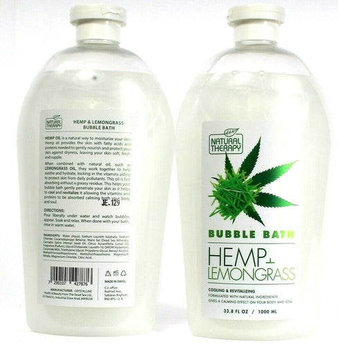 2 Natural Therapy Hemp and Lemongrass Cooling Revitalizing Calming Bubble Bath
