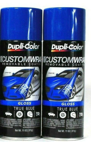 2 Cans Dupli-Color 11 Oz CustomWrap Gloss CWRC842 True Blue Removable Coating