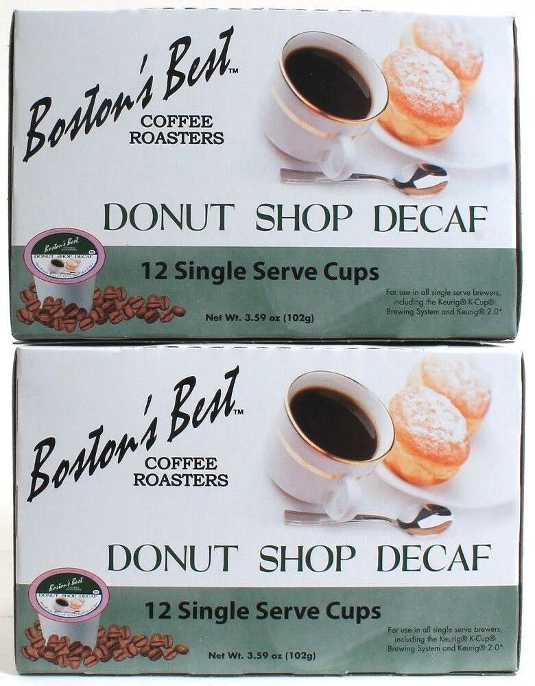 2 Bostons Best Coffee Roasters Donut Shop Decaf 12 Single Serve Cups Best By 11-