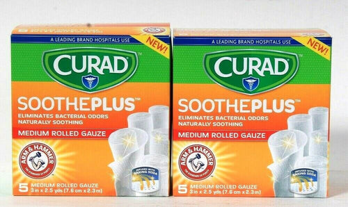 2 Boxes Curad SoothePlus Arm & Hammer Baking Soda 5 Count Med Rolled Gauze