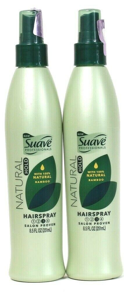2 Ct Suave 8.5 Oz Natural Hold 3 With Bamboo Non Aerosol Flexible Hairspray