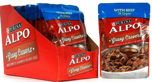 10 Count Purina 3.5 Oz Alpo Gravy Cravers Beef Adult Dog Food BB 3/2022