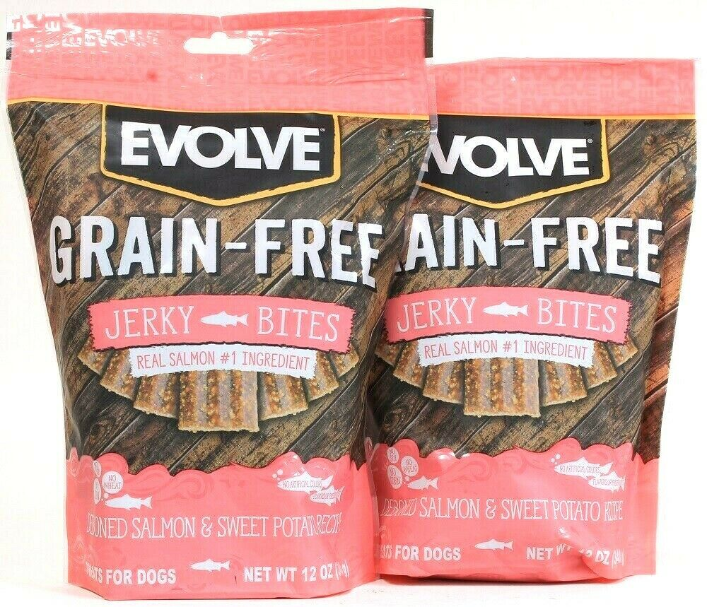 2 Bags Evolve 12 Oz Grain Free Deboned Real Salmon & Sweet Potato Jerky Bites