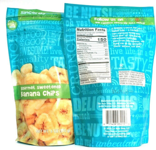 2 Bags SincerelyNuts 6 Oz Gourmet Sweetened Banana Chips BB 4/14/2021