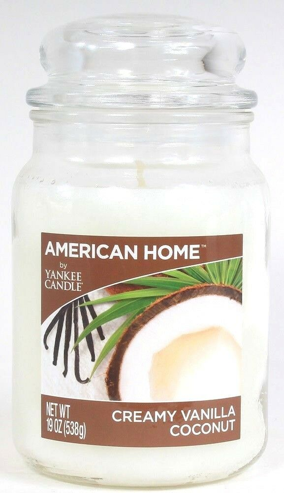 1 American Home By Yankee Candle 19 Oz Creamy Vanilla Coconut Glass Jar Candle