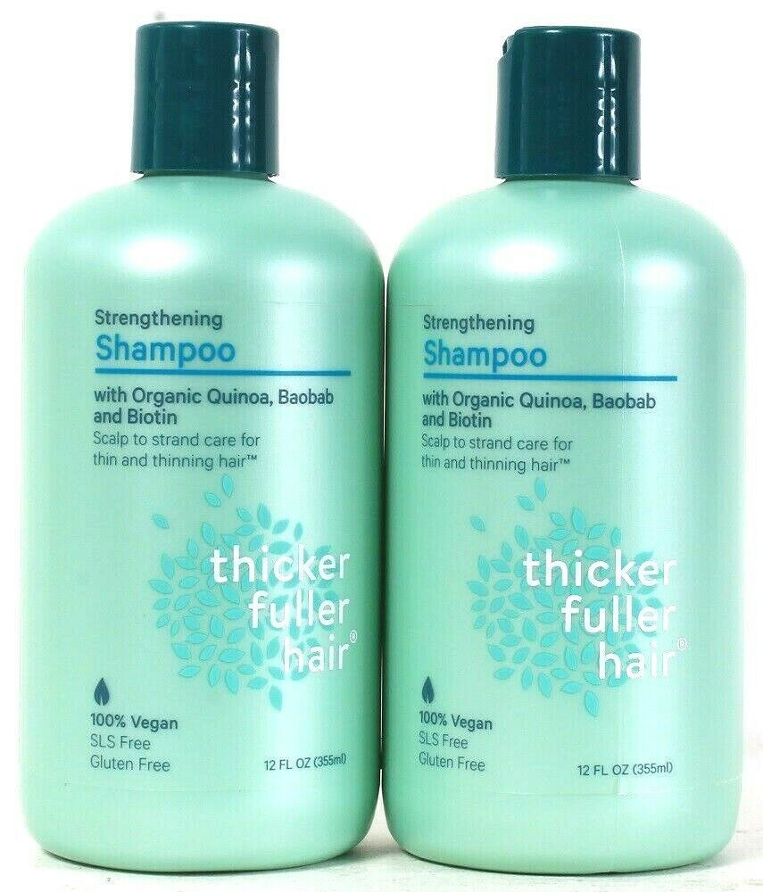 2 Bottles Thicker Fuller Hair 12 Oz Strengthening Organic Quinoa Biotin Shampoo