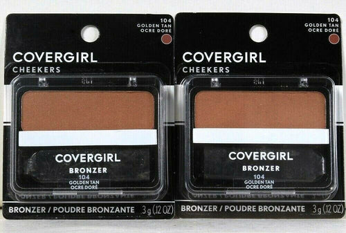 2 Count Covergirl 0.12 Oz Cheekers 104 Golden Tan Soft Powdered Sun Kiss Bronzer