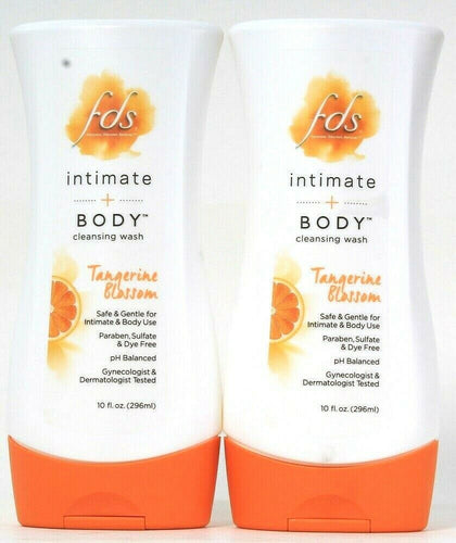 2 Bottles Fds 10 Oz Intimate & Body Tangerine Blossom pH Balanced Cleansing Wash