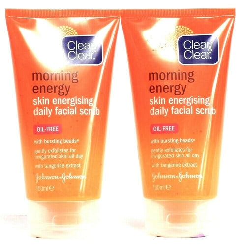 2 Count Clean & Clear Morning Energy Skin Energizing Daily Facial Scrub Oil Free