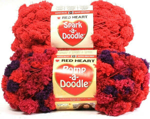 2 Ct Red Heart Spark A Doodle 6 Super Bulky 9901 Reddy & 9544 Grapeberry Yarns