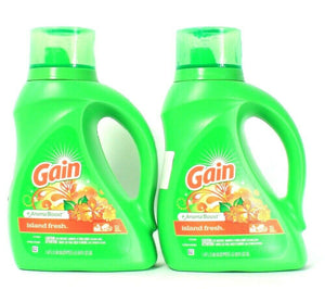 2 Bottles Gain 50 Oz Aroma Boost Island Fresh 32 Loads Laundry Detergent