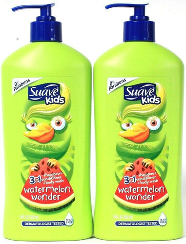 2 Ct Suave Kids 18 Oz Watermelon Wonder 3 In 1 Shampoo Conditioner & Body Wash