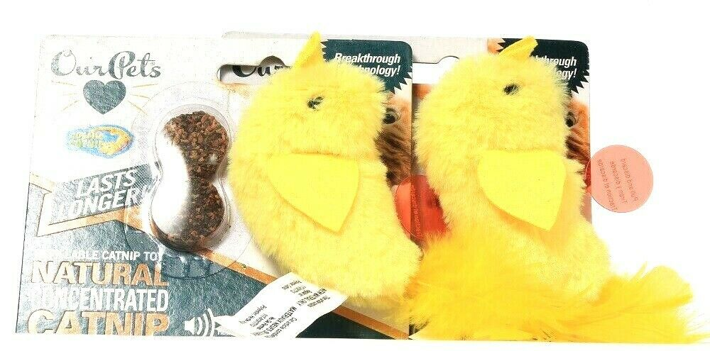 2 Count Our Pets Refillable Natural Concentrated Catnip Toy With RealBird Sound