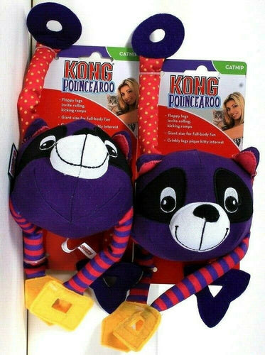 2 Ct Kong Pounce A Roo Raccoon Catnip Giant Size Full Body Fun Crinkly Cat Toy