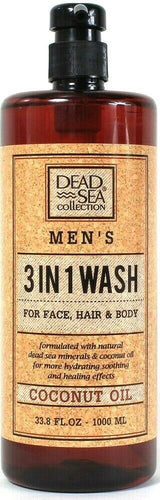 1 Count Dead Sea Collection 33.8 Oz Coconut Oil Men's 3 In 1 Face Hair Body Wash