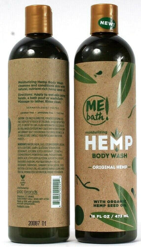 2 Bottles Me Bath Moisturizing Original Organic Hemp Seed Oil Body Wash 16 Oz