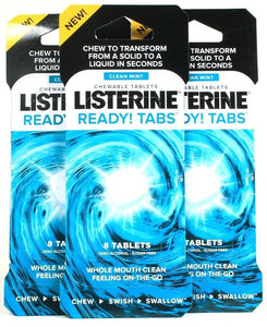 3 Packs Listerine Clean Mint Chewable 8 Ct Ready Tabs On The Go Mouth Clean