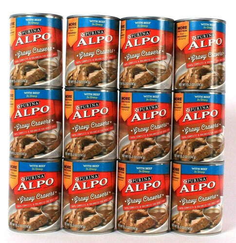 12 Cans Purina Alpo 13.2 Oz Gravy Cravers With Beef In Gravy Dog Food Exp 12/21