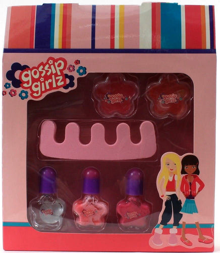 1 Gossip Girlz Chit Chat A Contains 2 Flower Lip Gloss Pot 3 Nail Polish Toesie