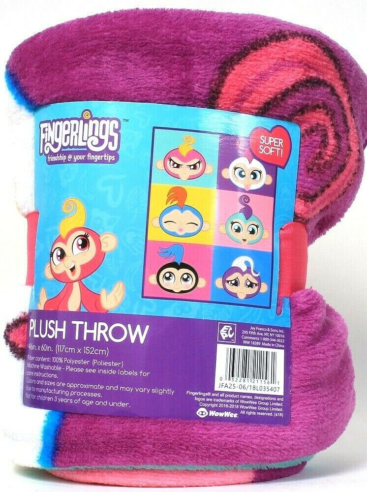 1 Count WowWee Fingerlings Super Soft 46 In X 60 In 100% Polyester Plush Throw