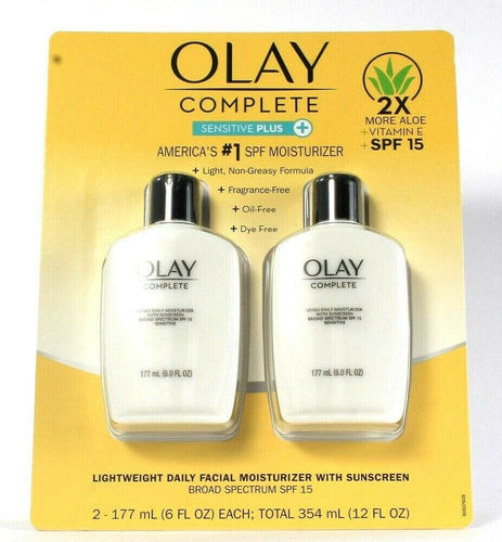 2 Olay Complete 6 Oz Sensitive Plus Lightweight SPF 15 Daily Face Moisturizer