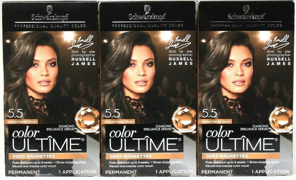 3 Schwarzkopf Color Ultime 5.5 Medium Parisian Brown Diamond Serum Permanent Dye