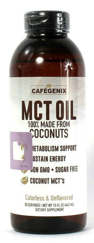 1 Ct Cafegenix 15 Oz MCT Oil 100% Made From Coconuts Sustain Energy Unflavored