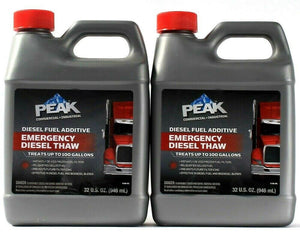 2 Bottles Peak 32 Oz Emergency Diesel Thaw Fuel Additive Treats Up To 100 Gallon
