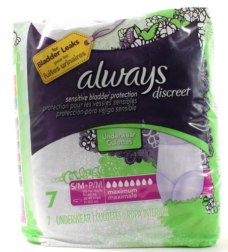 Always Discreet 7 Underwear S/M 115-190 LBS Sensitive Bladder Leaks Protection