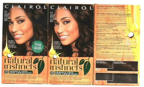 3 Boxes Clairol Natural Instincts 3.5 Brown Black Semi Permanent Hair Color