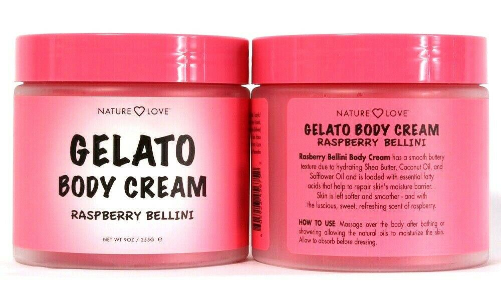 2 Count Nature Love 9 Oz Gelato Raspberry Bellini Hydrate Shea Butter Body Cream