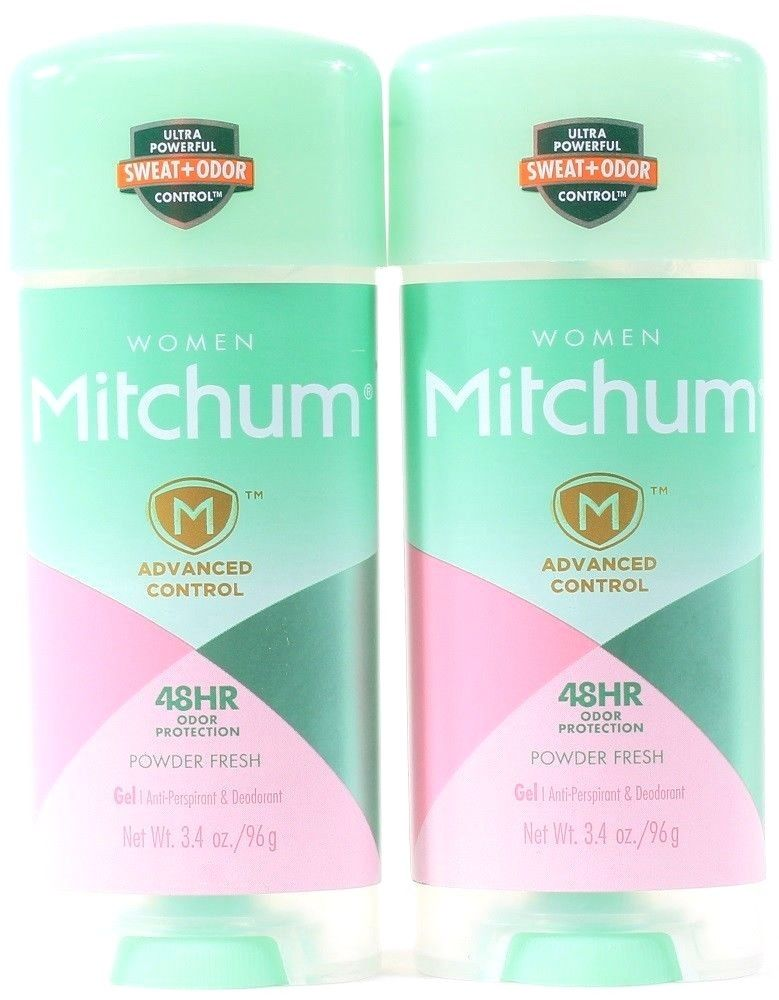 2 Mitchum Women Advanced Control 48HR Odor Protection Powder Fresh Gel 3.4 oz