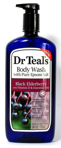1 Bottle Dr Teal's 24 Oz Black Elderberry Vit D Body Wash With Pure Epsom Salt