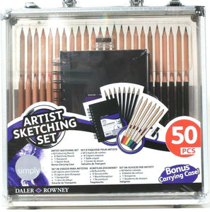 One Daler Rowney Simply 50 Piece Artist Sketching Set With Bonus Carrying Case